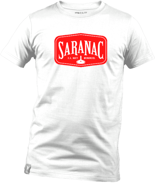White T-Shirt with Saranac Logo