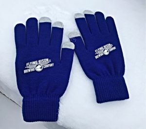 Logo Blue Knit Gloves