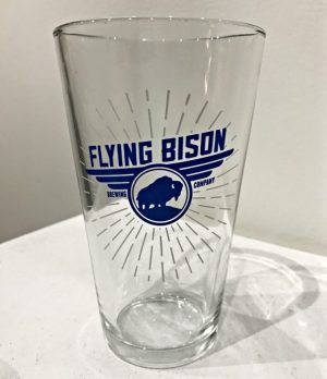 White Logo 16 oz glass